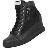black guess heeled sneakers